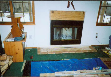 Refacing a zero clearance fireplace with brick facing to modernize customers home.